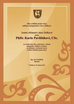 Udělení čestného občanství Karlu Pavlištíkovi 31.8.2014